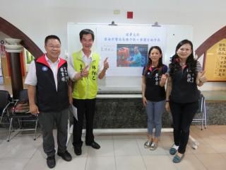 市議員蔡育輝(左一)、林燕祝(右一)、林陽乙(左二)、李中岑(右二)連署前巿警局長陳子敬參選台南巿長。