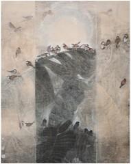 ▲「佛山花語-與自然對話行者石君寫生特展」主要分成三大部分呈現與自然對話寫生系列作品。(圖/記者郭文君攝)