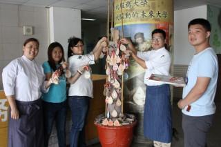 為即將到來的校慶作準備,台首大學生為許願樹掛許願卡。