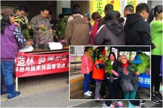 民眾熱烈響應羅東林區管理處贈苗植樹活動。(圖/羅東林區管理處提供)