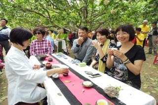 柚花飄香日子,民眾參與柚花巷茶席音樂會,享受神仙般悠閒時光。(記者/黃芳祿攝)