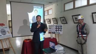 縣府水資局處長陳詔慶說明「彰化市汙水下水道系統水資源回收中心及主次幹管統包工程」的相關細節。