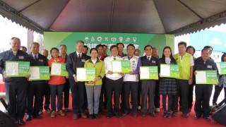 桃園市長鄭文燦前往新屋區農博基地,出席「2017桃園農業博覽會大地工程記者會」。