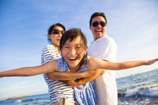 41024668 - happy family enjoy summer vacation on the beach