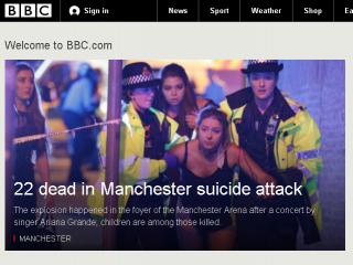 英國演唱會炸彈攻擊22死 外交部:暫無台人傷亡(圖/翻攝自BBC官網/http://www.bbc.com/)