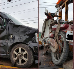 農婦騎機車未戴安全帽,與自小客車發生擦撞,婦人送醫宣告不治。(記者陳昭宗拍攝)