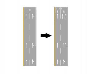 「分流式指向線」,是因應台灣汽、機車外側車道混流的特性,因此將現有直行右轉指向標線加以改良,在外側4公尺以上的車道,對直行與右轉的標線採各自獨立劃設的方法,用以明確表達右轉車靠右,直行車靠左的意念。(圖/交通部運研所)
