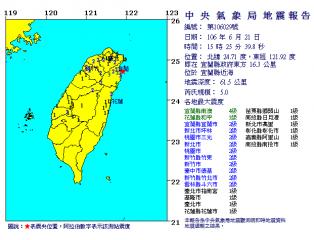 地牛翻身!宜蘭近海發生規模5.0地震 最大震度4級(圖/翻攝中央氣象局)