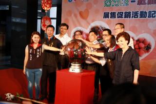 副縣長陳正昇與來賓共同點亮南投活力旺展示燈。( 記者扶小萍攝)