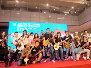 貢寮國際海洋音樂祭已邁入十七周年,特別邀請十七位吉他名人出席活動起跑記者會。(圖/記者黃村杉攝)