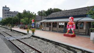 在集集火車站內的大同寶寶公仔。〈記者吳素珍攝〉
