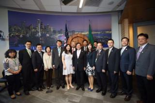 桃園市長鄭文燦率市府團隊,前往西雅圖市政府拜會。