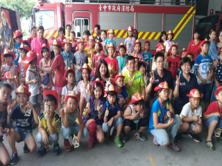 消防局三大隊辦小小消防員營。林重鎣攝