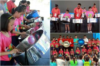 千里達及托巴哥鋼鼓樂團致贈一批鋼鼓給宜市新生國小。(圖/記者陳木隆攝)