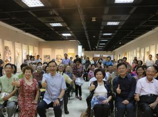 市長朱立倫出席於新北市藝文中心舉辦「中華文耀•大吉大利•丁酉之美─藝術聯展」開幕茶會。(圖/記者黃村杉攝)