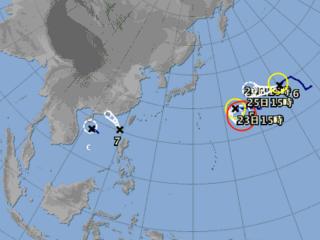 今年第七號颱風「洛克」於今日下午形成。(圖/翻攝自日本氣象廳)