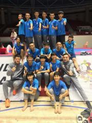 朱建安帶領的南投跆拳道子弟參加馬來西亞國際公開賽。(南投縣體育會提供)