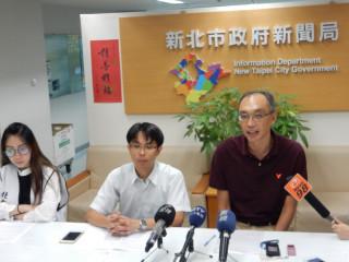 勞工局長謝政達、勞檢處長胡華泰、台北市聯醫工會總幹事張喬瑜等出席記者會。(圖/記者黃村杉攝)