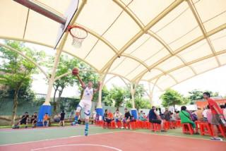 龍潭區運動公園,薄膜天幕籃球場啟用。
