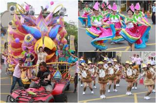 2017羅東藝穗節的主花車與部份踩街團隊。(圖/記者陳木隆攝)