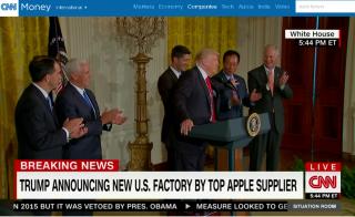 川普與郭台銘同台 宣布鴻海砸3千億在美設面板廠(圖/翻攝自CNN官網/http://edition.cnn.com/)