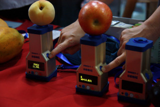 現場展示水果甜度檢測。(記者扶小萍攝)