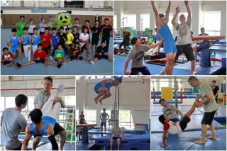 奧運金牌選手Makuts到宜蘭傳授體操技巧。(圖/記者陳木隆攝)