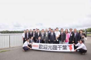 桃園市長鄭文燦率市府團隊參訪,山倉水上Mega太陽能發電設施。