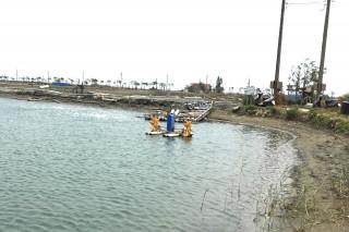 全台大停電,台南沿海養殖漁塭製氧水車停擺,死亡情形明早視浮出水面的量才能估算。(圖/記者黃芳祿攝)