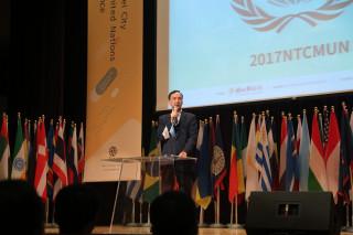 市長朱立倫出席2017新北青年模擬聯合國會議開幕式。(圖/記者黃村杉攝)