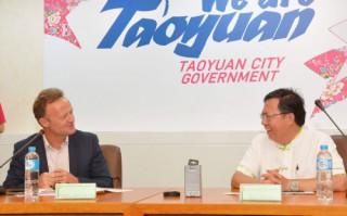 桃園市長鄭文燦,出席國際學校體育總會參訪,主辦城市場館及文化景點申辦簡報。