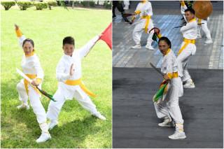 楊素樓和兒子張詠翔參與世大運開幕演出。(圖/鄭曼麗提供)