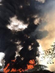 中壢區垃圾掩埋場大火, 火勢濃煙猛烈 。