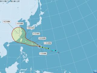 中央氣象局今日表示,泰利颱風持續朝西北西方向往臺灣方向接近,不排除於明(12)日白天發布海上颱風警報,明日晚間至週三(13日)清晨發布陸上颱風警報。(圖/中央氣象局提供)