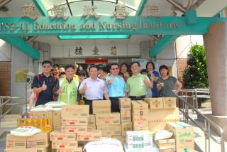彰化市公所清潔隊捐贈大批普度民生物資給慈愛教養院。