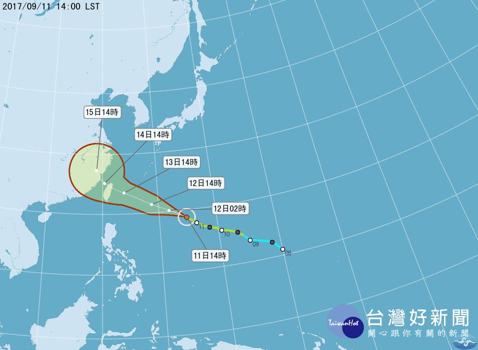 泰利颱風持續變胖增強 可能從東北部登陸