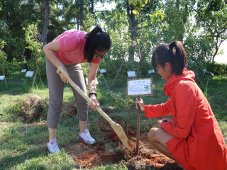 弘光科技大學舉辦新生啟航校園文化體驗「一生一樹」的植樹活動,各  系新生代表親手種下20棵肉桂樹,一起記錄大學四年的點滴成長。(記者陳榮昌攝)
