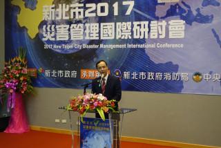 新北市長朱立倫19日主持新北市2017災害管理國際研討會開幕式。(圖/記者黃村杉攝)