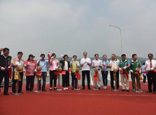 市長朱立倫21日主持三鶯二橋新建工程通車典禮。(圖/記者黃村杉攝)