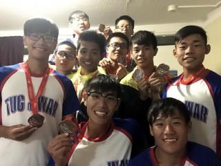 南投高中拔河隊奪歐洲盃暨世界青少年室外拔河錦標賽首奪 1銅。(投高提供)