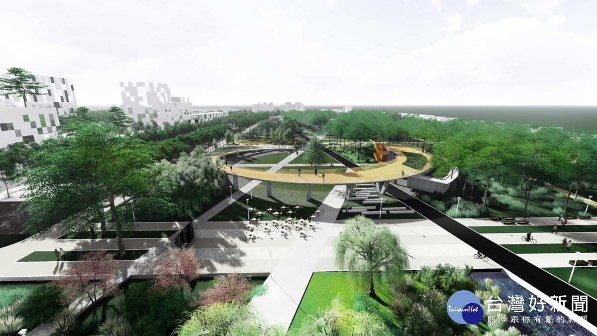 市府將小港森林公園打造為一座地景式的大型公園,即將在12月中旬完工開放。(圖為小港森林公園模擬圖/高雄市政府提供)