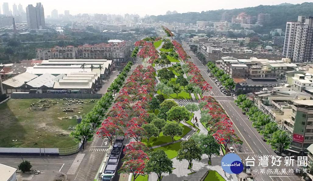 高雄鐵路地下化綠園道示範段工程今(107)年8月啟動,其中金川街至華安街區段即將在12月底完工。(圖為金川街至華安街區段模擬圖/高雄市政府提供)