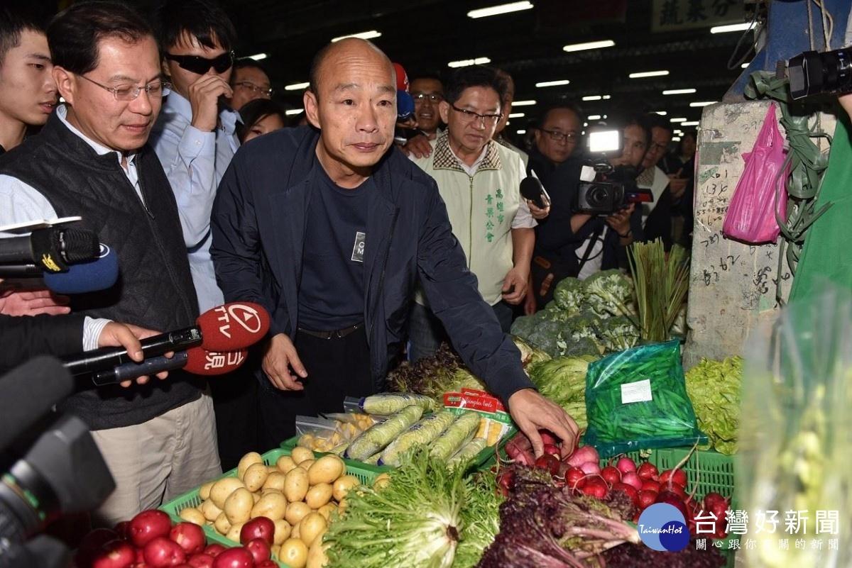 視察十全果菜市場。(圖/記者袁庭堯攝)