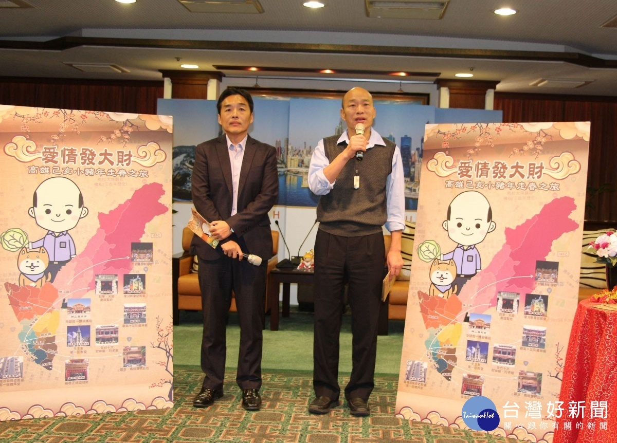 韓市長推薦春節高雄特色廟宇。(圖/記者何沛霖攝)