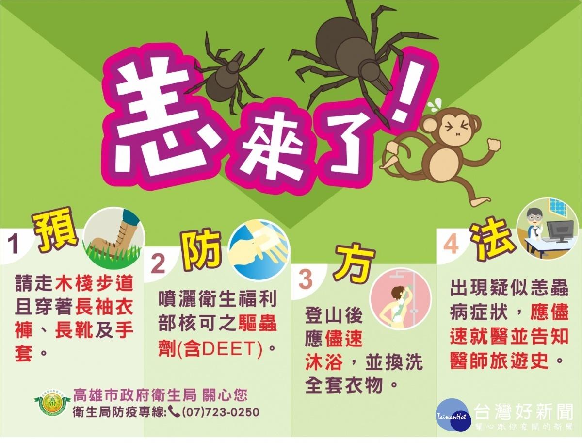 預防恙蟲4步驟。(圖/高雄市衛生局提供)