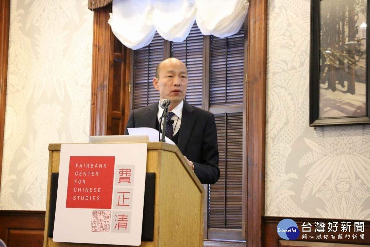 高雄市長韓國瑜前往哈佛演講。(圖/記者何沛霖攝)