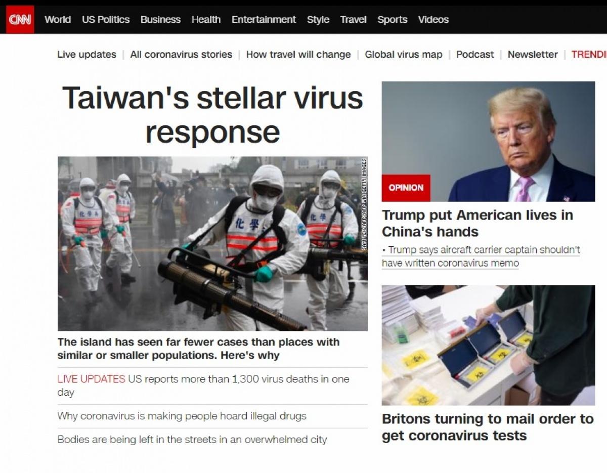 CNN頭版:台灣防疫全球最優民主制度也能遏止疫情-綜合-HiNet生活誌