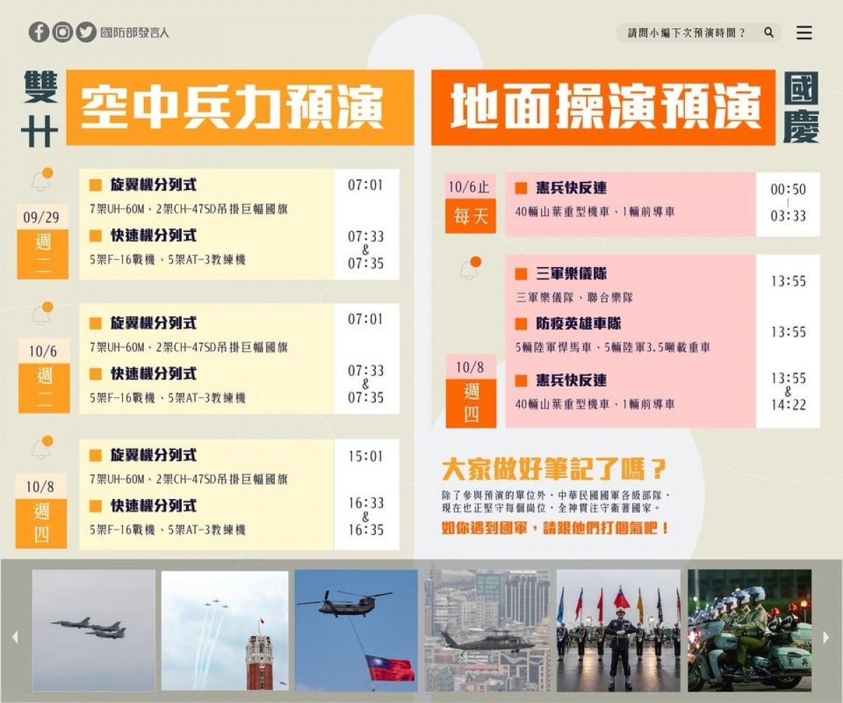 國慶預演 國防部:戰機9/29、10/6、10/8呼嘯北市上空當鬧鐘
