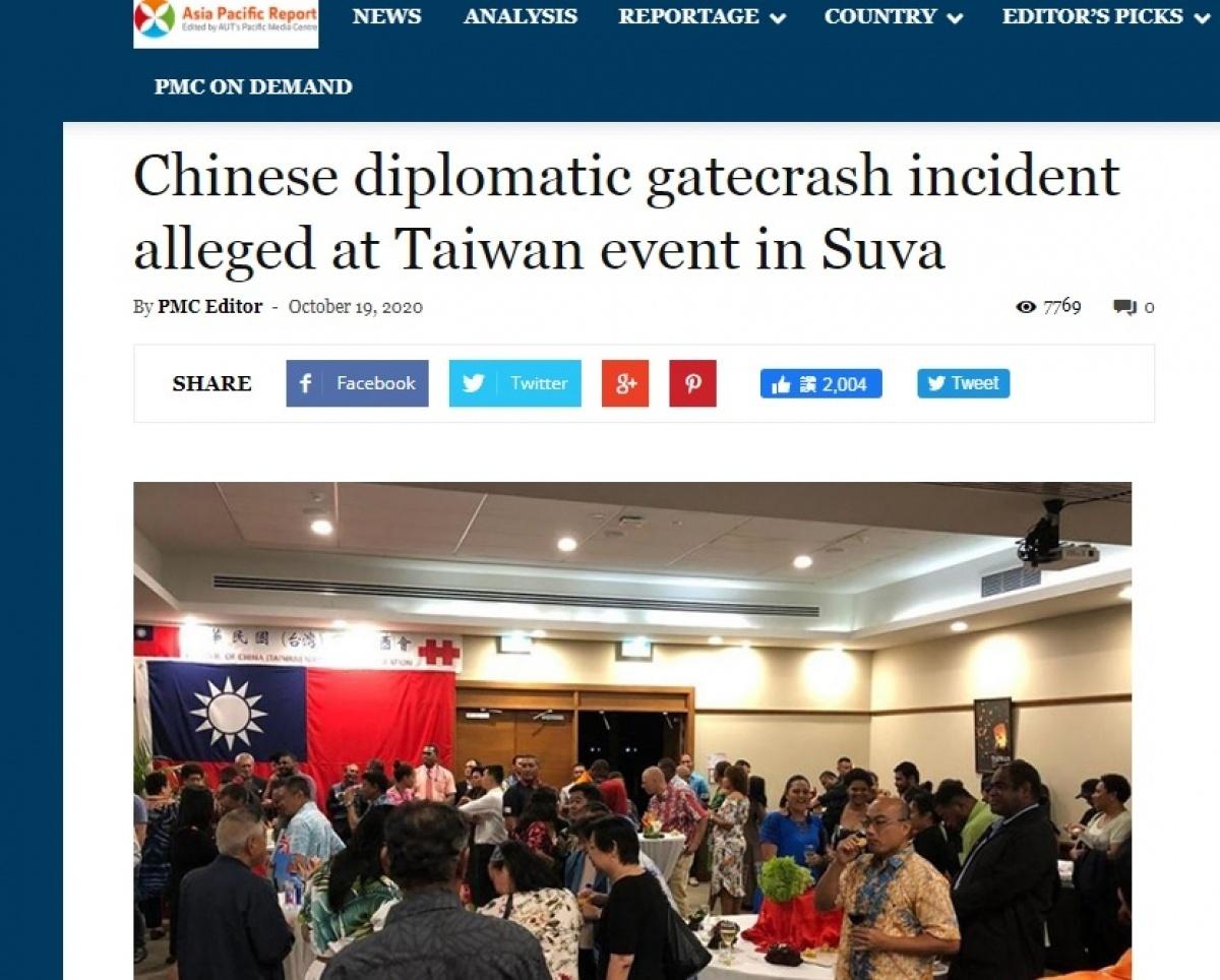中國外交官闖斐濟代表處國慶酒會拍照叫囂 我方人員被打到送醫