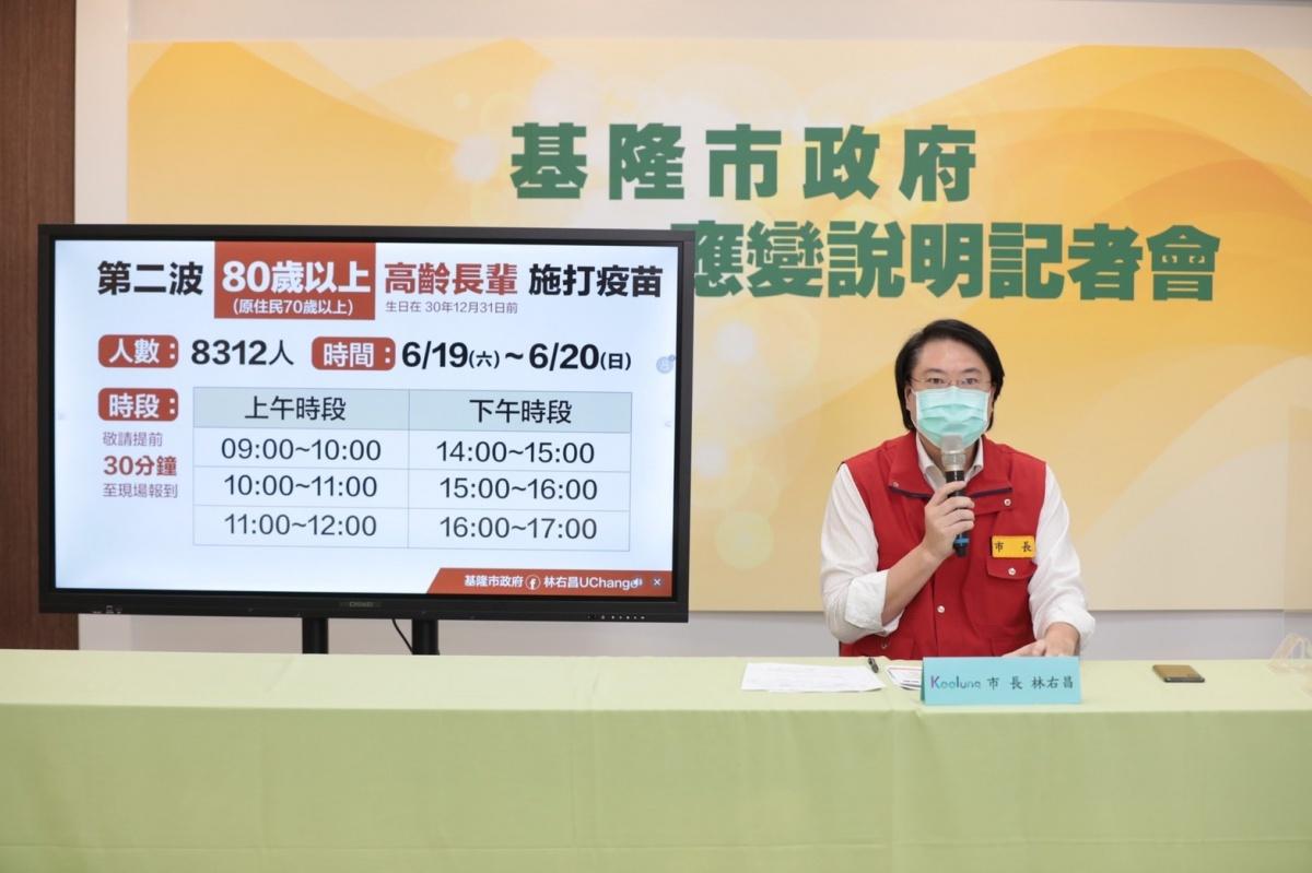 基市週末開放80歲以上長者打疫苗 林右昌說明7區10站施打期程